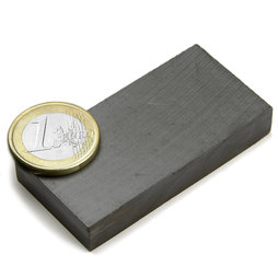 FE-Q-60-30-10, Blokmagneet 60 x 30 x 10 mm, ferriet, Y35, zonder coating