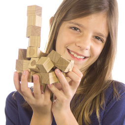 M-43, Wooden blocks set, 27 magnetic wooden cubes, made of oiled oak wood